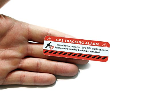 GPS Alarm Aufkleber Auto - Warnaufkleber in Premium Qualität - 75 mm x 25 mm - Sticker für Pkw - Innenklebend (rot klassich, 2) (Alarmanlage Mit Gps-tracking)