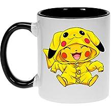 Okiwoki Mug avec Anse et intérieur de Couleur (Noir) - Parodie Pokémon - Pikachu Cosplayé en. Pikachu ! - Imbattable dans Les Concours de Cosplay. :(Mug de qualité supérieure - imprimé en France)