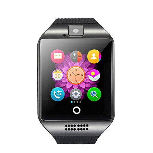 SinoPro Q18 Smart Watch, Sports Fitness Tracker Bluetooth Wrist Watch with SIM Card and TF Card Slot Camera Message Notification Sleep Monitor Compatible with iPhone Samsung HTC Sony Huawei and other Android Smartphone (Black)
