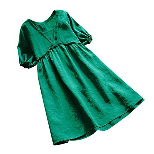 Saihui_Women Dress Damen Casual Kurzarm Shirts Kleid Lose V-Ausschnitt Rüschen Empire Taille A-Linie Baumwolle Leinen Mini Kleider Tunika Tops Plus Größe S-5XL -