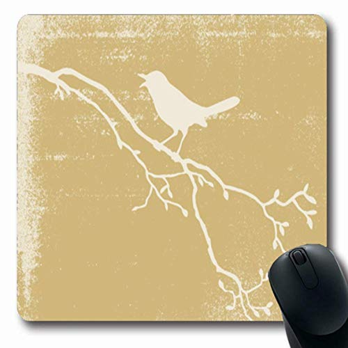 Mousepads für Computer Spot Yellow Aging Bird Auf Schmutz Antique Branch Burnt Canvas Design Pergament rutschfeste Oblong Gaming Mouse Pad -