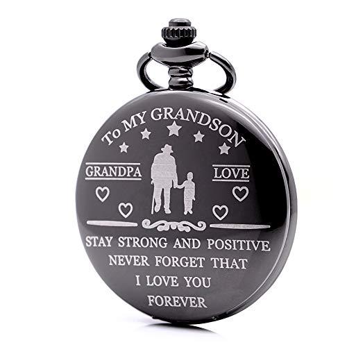 Reloj de Bolsillo Grabado con la Frase en inglés Idea Nieto, Abuelo, Amor, Nunca Olvides Que te Quiero para Siempre