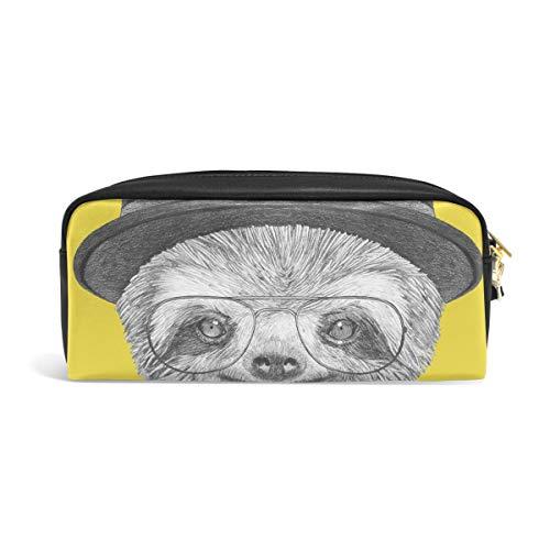 DEZIRO Porträt Faultier mit Hut und Brille Federmäppchen Box Kosmetiktasche Designer-hut-boxen