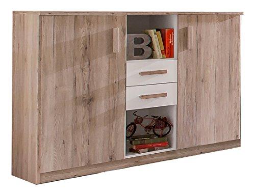 Wimex 327717 Highboard, Holz, san remo eiche/alpinweiß, 41 x 124 x 105 cm