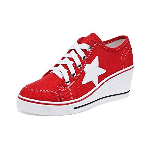 Ochenta Women Sneaker Pumps Zeppa Tacco Alto In Canvas Platform Chic Comode Sneakers Scarpe Casual # 3 Rosse