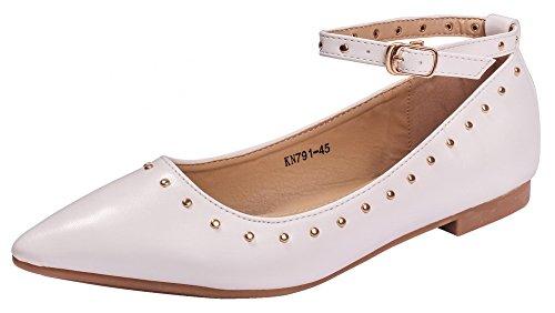 AgeeMi Shoes Damen Spitz Zehe Schnalle PU Niedriger Absatz Pumps Schuhe,EuD88 Weiß 38
