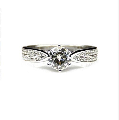 Gowe 1CT moissanites Lab gewachsen Verlobung Diamant Ring 9K Weißgold Verlobungsring Hochzeit Ringe