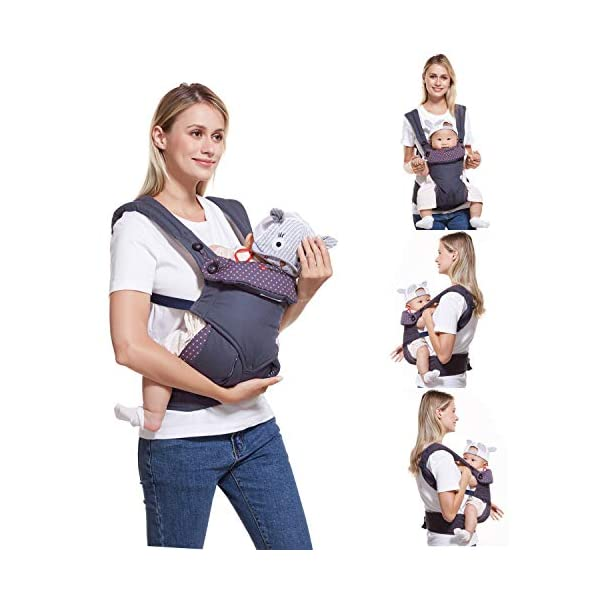 "NEWSTYLE Baby Carrier Slings for Toddler,Safety Baby Front Back Carrier Infant Backpack Wrap,Premium Cotton Baby Carrier,Ergonomic All Position Baby Backpack for Newborn Infants Toddlers (Navy Blue)  ❤ Safe Material: Soft cotton 100%.Breathable fabric keeps baby skin dry.fast-drying,not fade,not sticky with wool. ❤ Ergonomic Design: Easy to adjust seat supports your baby in an ergonomic natural ""M"" position in all carry positions from baby to toddler.ensure baby's hips and legs are positioned correctly and comfortably. ❤Also Thoughtful Enough for You: Collapsible hood for wind and sun protection,Machine Washable, Lightweight, Foldable, Wide and thick backpack straps help relieve stress . Easy to put on or take off.all details are custom just for you. 2"