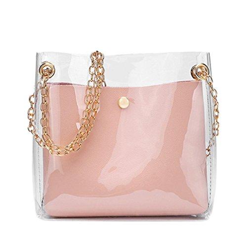 DOGZI Handtasche Damen, Klein Transparente Tasche Rucksack Damen Ledertasche Kleine Frauen Fashion Solide Schultertasche Messenger Bag Crossbody Telefon Münztüte (Pink)