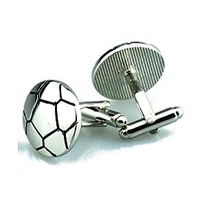 AYDOME Manschettenknöpfe Elegant Fußball Hemd mit Manschettenknöpfe für Herren Manschettenknöpfen Herren Silber
