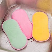 Aobuang 3Pcs Antibacterial Kitchen Scouring Pads Double Sided Scrubbing Sponges Scourer Non Odor Dish Scrubber Brush (3Pcs Green +Pink +Yellow)