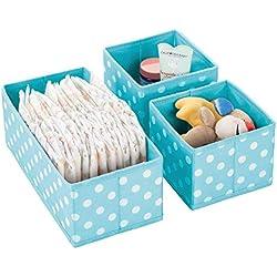 mDesign boîtes de Rangement (Set de 3) en Plastique pour Chambre d'Enfants, Salle de Bain, etc. - Module de Rangement - boîte en Tissu de 2 Tailles différentes en Fibre synthétique - Turquoise/Blanc
