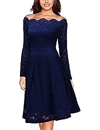 Miusol® Damen Abendkleid Vintage 1950er Off Schulter Cocktailkleid Retro Spitzen Schwingen Pinup Langarm Rockabilly Kleid Rot/Navy Blau Gr.S-XXL