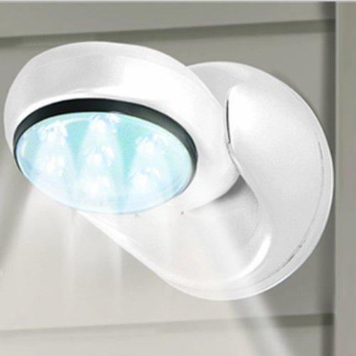 Pixnor Lampe de nuit rotative à 360 ° Détecteur de mouvement sans fil 7-LEDs Blanc Lumineux, pour intérieur/extérieur (Blanc)
