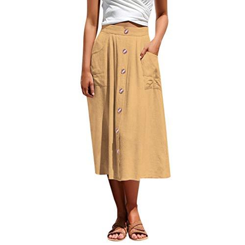 (Hard Rock Cafe Frauen sexy lässig Knopf hohe Taille Tasche Kleid YE/L. Gepolsterter Rock der 50er Jahre Kleidung im Schrank)