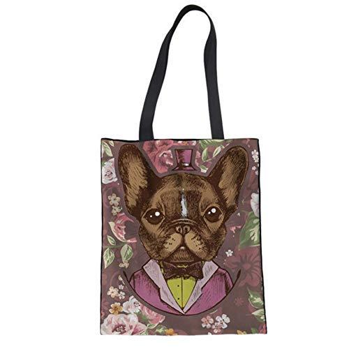 Mzdpp Frauen Leinwand Taschen Umweltfreundliche Damen Einkaufstasche Urlaub Strand Casual Totes Diy Corgi Hund 3D Malerei Taschen Für Mädchen -RC0489 (Corgi Malerei)