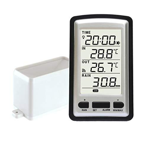 HOCOVER Regenmesser Funksensor Wetterstation Außentemperaturschreiber Zeitalarm Meteorologisches Instrument Regenmesser