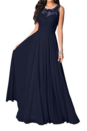 Navy Blau Schuhe Kleid Damen (Missdressy Damen Elegant Chiffon Charmeuse Applikation Rundkragen Aermellos Lang Abendkleider Partykleider Festkleider Tanzenkleider-40-Navy)
