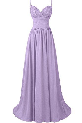 Sunvary Damen Spitze Neu Herzform Traeger Abendkleider Lang Ballkleider Chiffon Partykleider Lilac