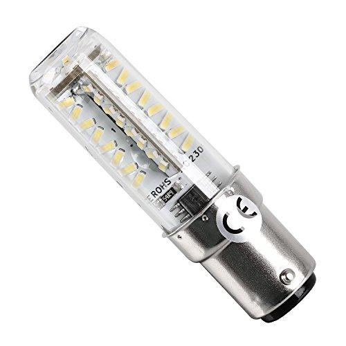 LED Glühbirne mit 70 LED's Stecksockel B15D Tageslicht - Jetzt neu - die verbesserte Version mit 70 LED's und aus festem Kunststoff - Tageslicht 6500K - 200 Lumen - Für Nähmaschinen mit 220 Volt B15D Stecksockel (Pfaff Nähmaschine Fall)