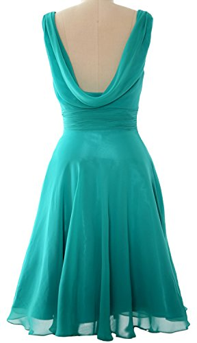 MACloth Elegant Cowl Neck Cocktail Dress Short Wedding Party Bridesmaid Gown gray