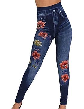 Estampado Flores Loto Mujeres Agujero Roto Pantalones Vaquero Imitación Cintura Alta Hueco Pequeño Pies Pantalones...