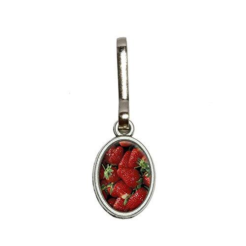 Antike Strauß (Strauß aus Erdbeeren Antik Oval Charm Kleidung Geldbörse Gepäck Rucksack Zipper Pull)