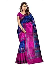 Fabwomen Sarees Floral Print Blue And Pink Coloured Cotton Silk Traditional Casual Wear Women's Saree/Sari.