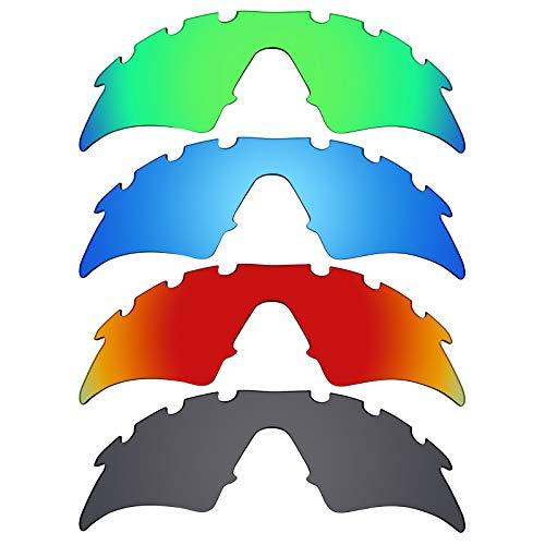 Mryok polarisierte Ersatzgläser für Oakley M Frame Sweep Sonnenbrillen, belüftet, Stealth Black/Fire Red/Ice Blue/Smaragdgrün, 4 Paar