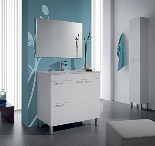 homevanity Aktiva Badezimmerschrank, 2Türen, 2Schubladen, Spiegel und Waschbecken–weiß 800 (2 Tür, 2 Schublade Eitelkeit)