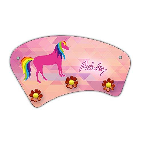 Wand-Garderobe mit Namen Ashley und süßem Einhorn-Motiv für Mädchen - Garderobe für Kinder - Wandgarderobe -