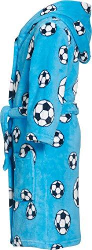Playshoes Jungen Bademantel Kuschelweicher Fleece-Bademantel, Morgenmantel Fußball, Oeko-Tex 100, Gr. 122 (Herstellergröße: 122/128), Blau (original) - 3