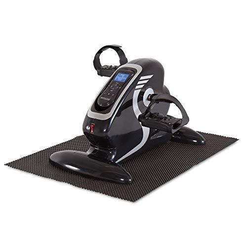 maxVitalis Elektro Mini Bike Arm- und Beintrainer Pedaltrainer Bewegungstrainer mit Trainingsdisplay Massage-Handgriffe Schwarz/Silber