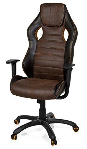 41MNZ%2BuJJRL - hjh OFFICE 621880 RACER VINTAGE IV - Silla Gaming y oficina,  piel sintética marrón