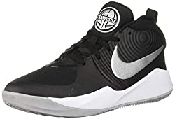 Nike Unisex-Kinder Team Hustle D 9 (GS) Basketballschuhe, Mehrfarbig (Black/Metallic Silver/Wolf Grey/White 000), 38 EU