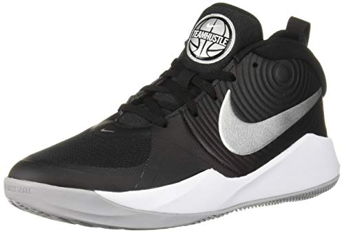 Nike Unisex-Kinder Team Hustle D 9 (GS) Basketballschuhe, Mehrfarbig (Black/Metallic Silver/Wolf Grey/White 000), 37 EU