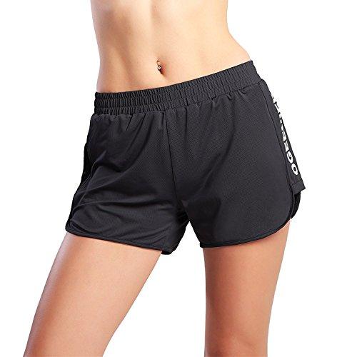 Ogeenier Damen Mesh Tainingsshorts Fußballshorts Leicht Laufhose Sports Training Shorts mit Futter