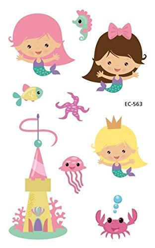 HXMAN Neue Cartoon Temporäre Tattoo Meerjungfrau Gefälschte Tattoo Bunte Kinder Taty Für Kinder Präsentieren Ozean Tiere Flash Tatoo Hand (2 Pack) EC-563