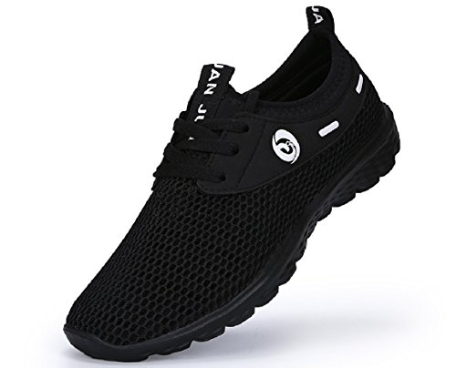 41MNb8E7cHL - Juan Men's Lightweight Fashion Mesh Sneakers Breathable Athletic Outdoor Casual Sports Running Shoes (MEN,44EU/10US, Black) sports best price Review uk