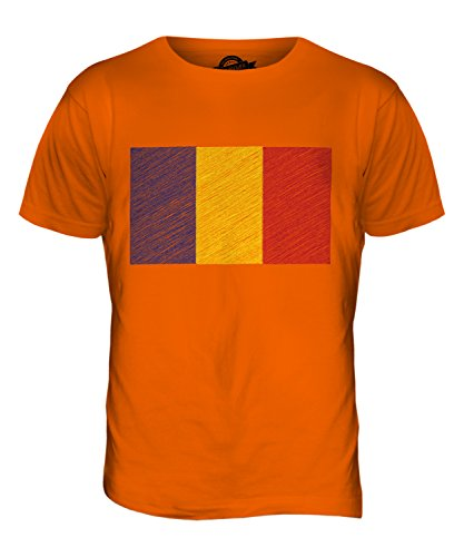 CandyMix Rumänien Kritzelte Flagge Herren T Shirt Orange
