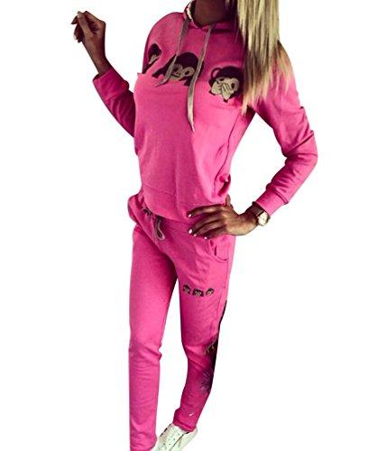 Ensemble Survetement Femme Ensemble Jogging Sport Femme Sweat Shirt à Capuche Sweatshirt Survêtements Ensembles Hoodie Imprimé Sweat-shirt à Capuches Pull Shirt + Pantalons Fille Hiver Rose