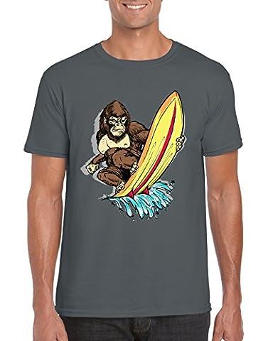 Gorilla Wave Hunter T-Shirt / Animal / Surfer / Surfboard / Funny / Humorous / Sport / Gift / Novelty Themed / Men's Printed Top / SIZE MEDIUM / CHARCOAL