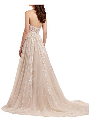 Victory Bridal Romantisch weiss Herzausschnitt Bodenlang Hochzeitskleider Brautkleider Brautmode Lang A-linie Beige