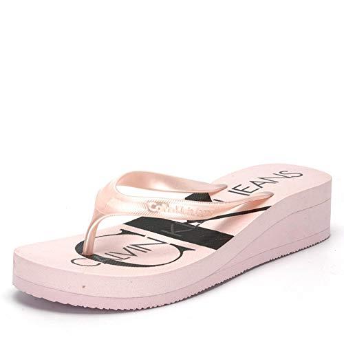 Calvin Klein Jeans Calvin Klein Tesse RE9856PNK RE9856 Pantolette federleichte Sohle 30-mm-Absatz, Groesse 38, rosé