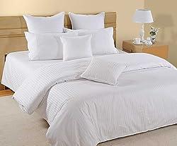 Swayam Plain Satin Damask Cotton Single Bedsheet with 1 Pillow Cover - White