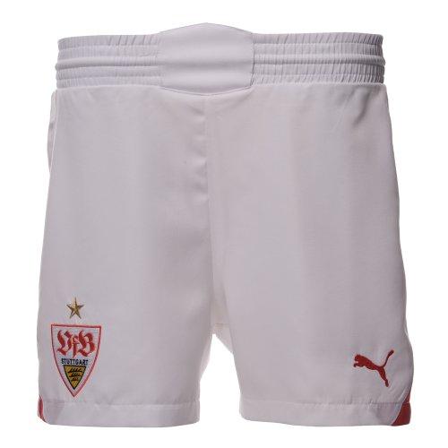 PUMA Kinder VfB Stuttgart Fußball-Shorts Replica, white-team regal red-Home, 128, 737579 01