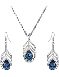 Yellow Chimes Crystals from Swarovski Krishna Peacock Feather Blue Crystal Pendant Set for Women and Girls