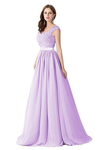 Damen Elegant Ämellos Chiffon Hochzeitskleid mit Spietze lang Helllila 44