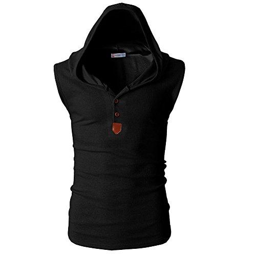 Männer Casual T-Shirt Kapuzen-Ärmellos Tank Tops Hoodies (M, Schwarz) (Schwarze Ärmellose T-shirt)