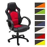 CLP Gaming Bürostuhl FIRE mit Kopstütze und hochwertiger Polsterung | Der höhenverstellbare Drehstuhl verfügt über eine Wippfunktion und Armlehnen | Schreibtischstuhl mit pflegeleichtem Kunstlederbezug | In verschiedenen Farben erhältlich Rot